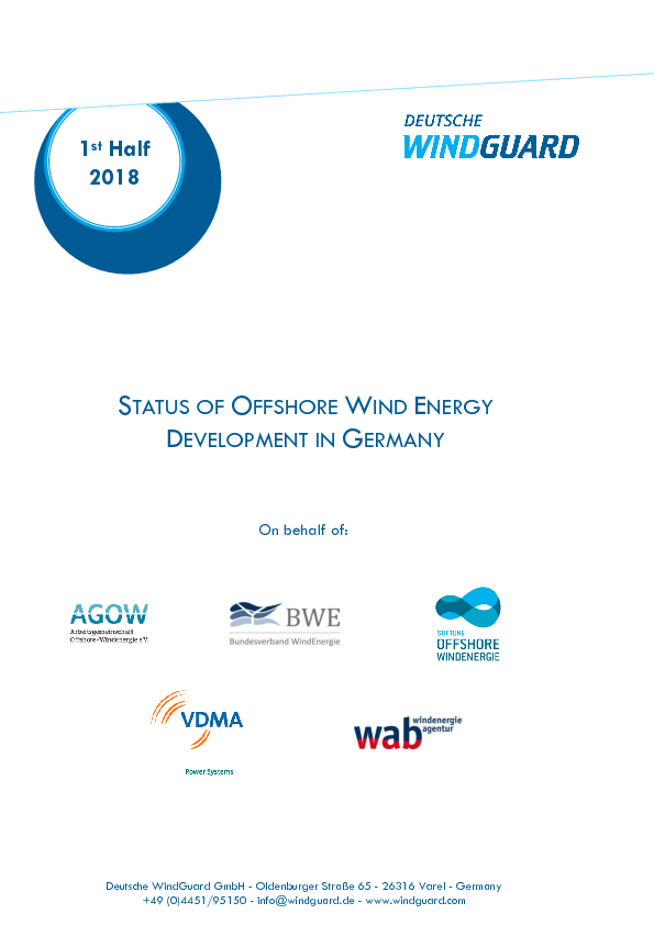 Factsheet: Status of Offshore Wind Energy Development in Germany - 1st Half 2018