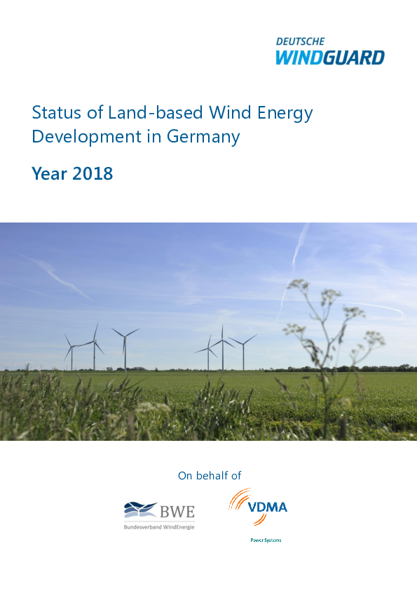 Factsheet: Status of Wind Energy Development in Germany - Year 2018
